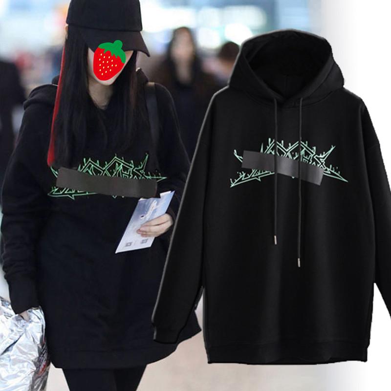 网红同款连帽卫衣女2020秋冬新款套头韩版宽松显瘦加绒中长款外套