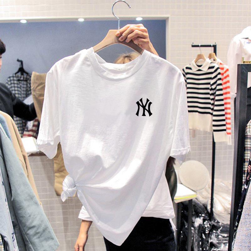 纯棉白色T恤女秋装宽松大码韩版打底衫夏季2020年新款短袖上衣ins