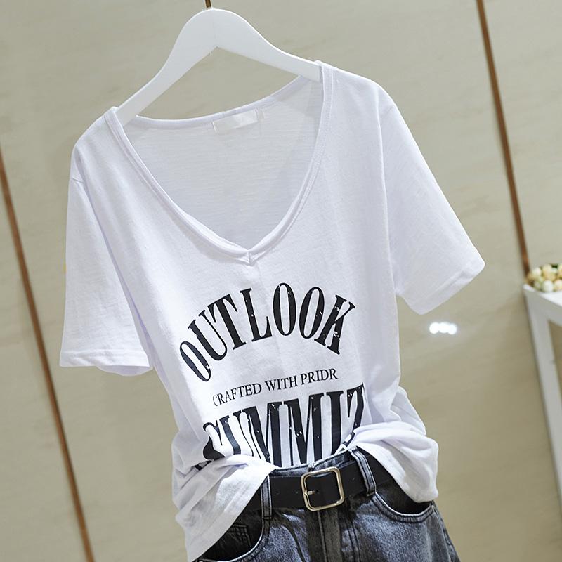 韩版简约V领宽松短袖t恤女竹节棉2020年夏季装新款上衣字母印花