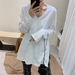 内搭打底衫竹节棉V领2020年新款秋装冬季长袖T恤女宽松中长款上衣