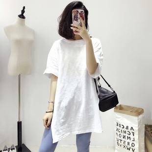 打底衫 宽松竹节棉白色t恤女2020春装 中长款 短袖 潮 五分袖 夏装 新款