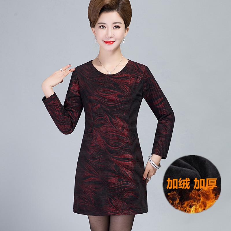 中老年女装大码裙子秋冬装40-50-60岁中年人妈妈装加绒长袖连衣裙