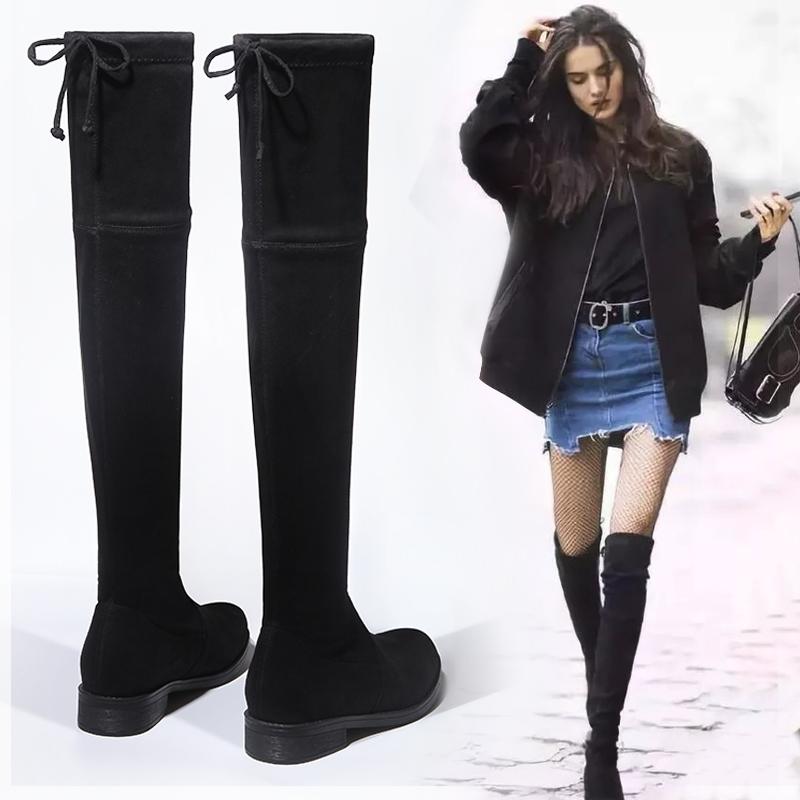 长靴女过膝靴长筒冬2019秋款新款弹力小个子高筒网红瘦瘦平底女靴