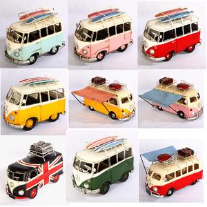 复古铁皮大众甲壳虫面包公交巴士汽车迷你房车模型仿真家居小摆件