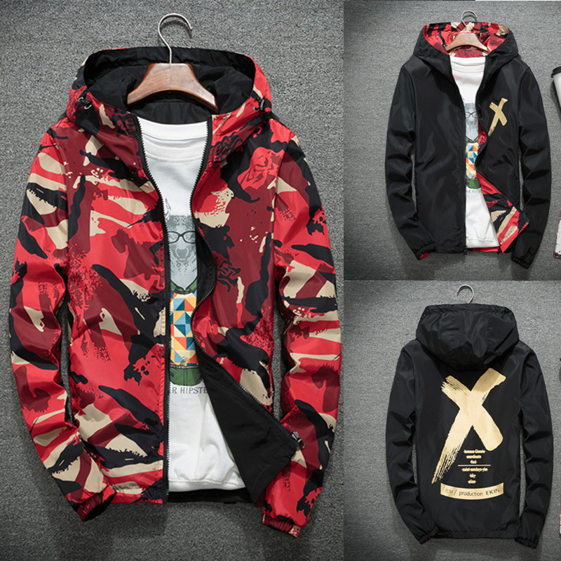 Mens coat spring and autumn Korean version wear both sides wear high school students fashionable and handsome camouflage Jacket Boys