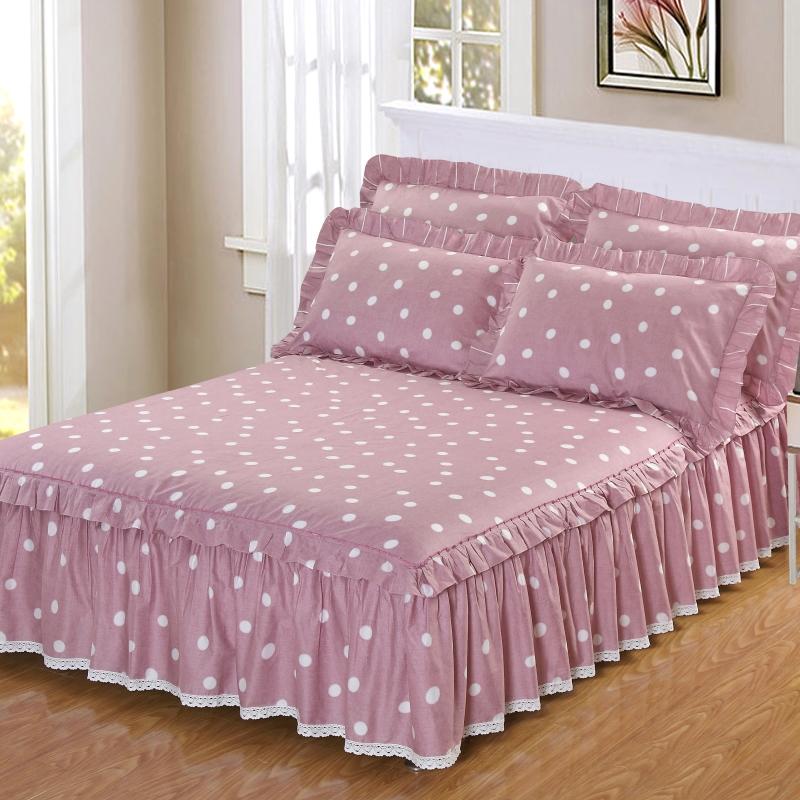 纯棉床罩床套防滑床裙式单件全棉保护防尘罩1.5米1.8m床单1三件套