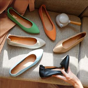 女鞋2021新款单鞋奶奶鞋女平底真皮浅口尖头复古孕妇工作鞋子夏季