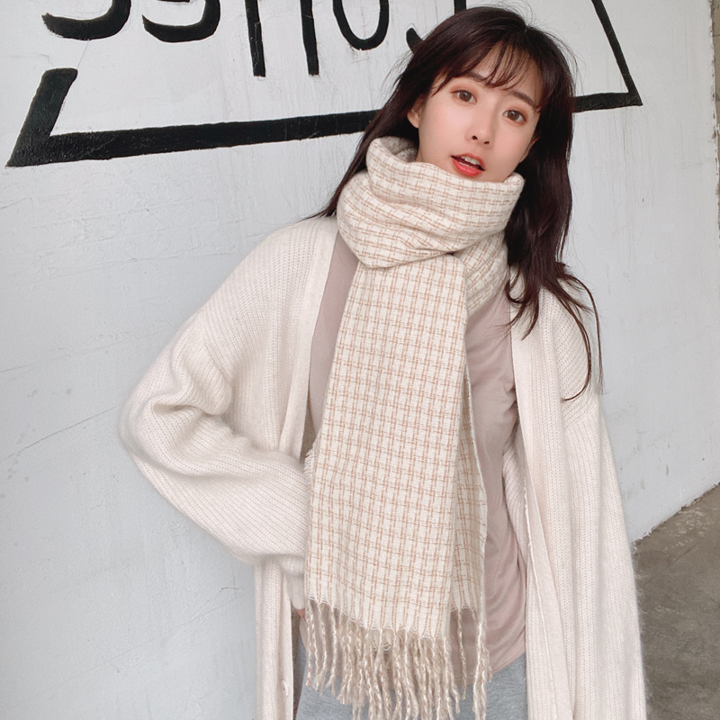 Plaid Scarf Korean womens warm and versatile style in autumn and winter