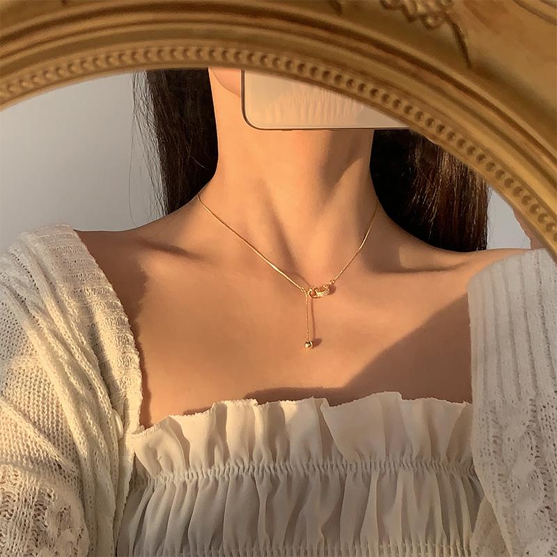 为晚 圆珠双环装饰银项链轻奢小众日韩时尚闪钻精致网红锁骨链潮