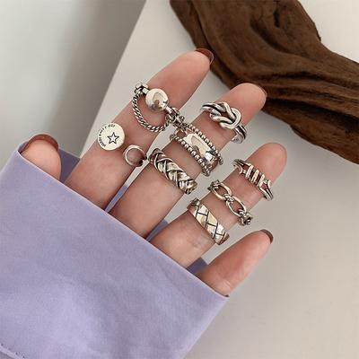 为晚 重工组合食指戒指女纯银时尚个性复古ins冷淡风小众指环潮