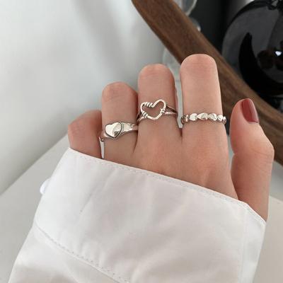 为晚 复古爱心开口纯银戒指女ins潮网红简约轻奢小众高级感指环