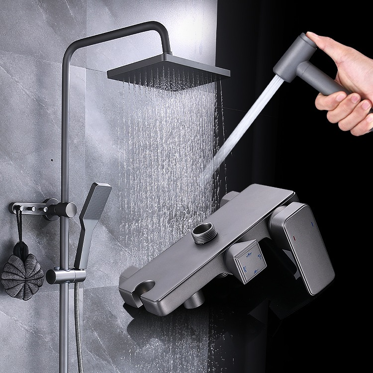 磨砂极地灰深空增压淋浴花洒套装全铜淋浴器黑灰色花洒家用枪灰色