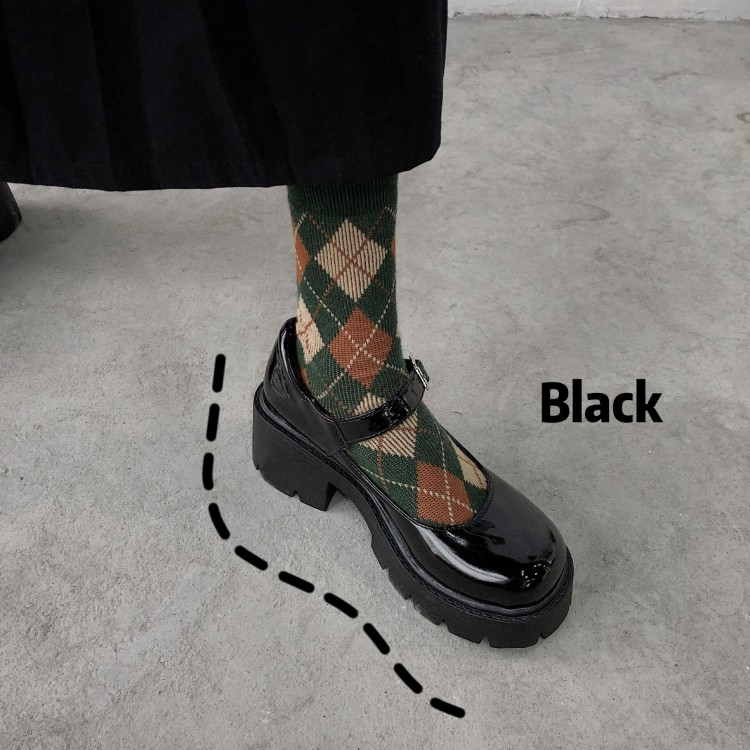 Thick soled Mary Jane JK womens shoes early spring 2021 New Retro college style Lolita black patent leather thick heel shoes