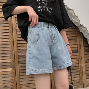 樱田川岛2021年新款ins韩版夏季薄款高腰直筒宽松牛仔裤短裤女士
