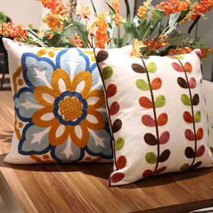 美式 田园复古小清新抱枕刺绣花北欧风格 沙发靠垫套加厚客厅可拆洗