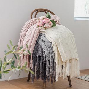办公室针织线毯雪尼尔休闲毛毯绒毯流苏毯午休装饰毯子午睡北欧毯