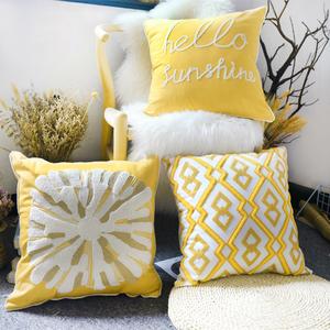 三月兮刺绣绒线靠垫套北欧黄色抱枕