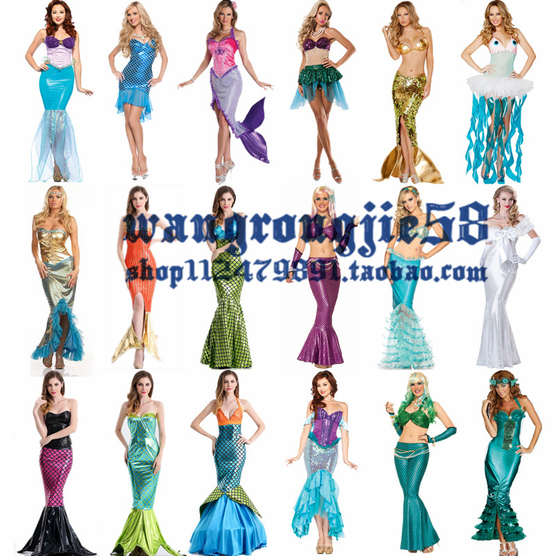 Halloween Costume Disney adult role play Mermaid Princess Dress Sexy wrap dress DS show dress