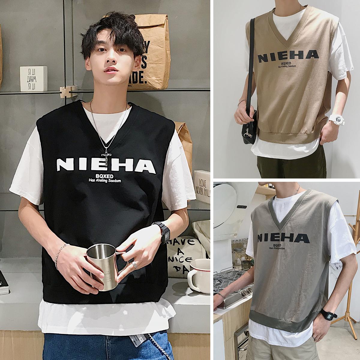 潮牌假两件短袖韩版宽松潮流t恤11月22日最新优惠