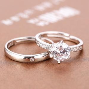 结婚情侣活口对戒婚礼仪式用道具求婚仿真钻戒一对男女开口假戒指