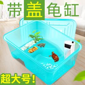 乌龟别墅饲养箱乌龟缸造景养乌龟专用缸带盖水陆缸带晒台乌龟房子