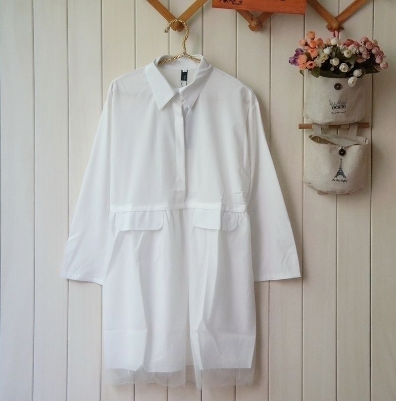 2021 Korean commuter womens spring and summer long sleeve elastic breathable Chiffon solid color Lapel buckle Organza Dress