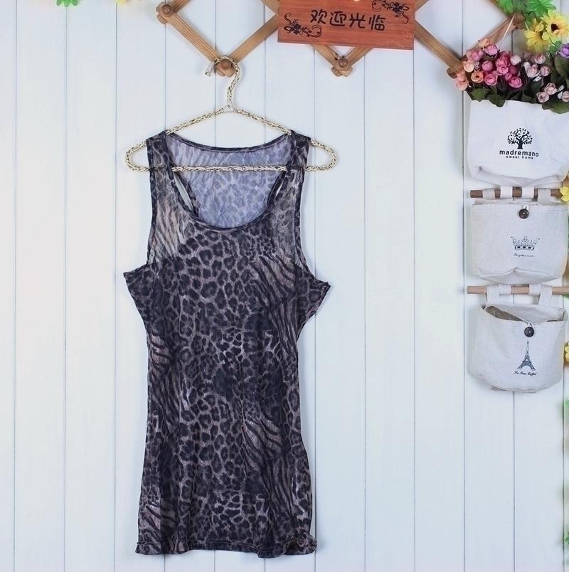 2020 fashion summer womens round neck Street Ruili leopard lace slim sleeveless conventional soft elastic waistcoat