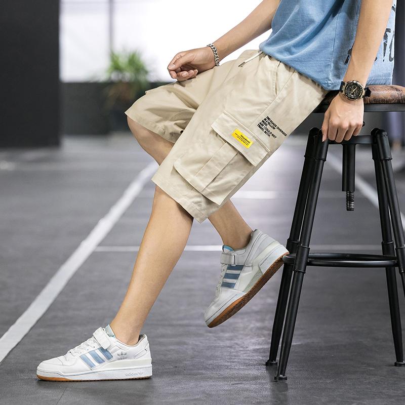 夏季薄款ins五分裤男士运动休闲短裤子青年百搭短裤纯棉工装卫裤