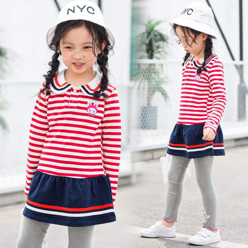 女童长袖春秋季新款韩版中长款t恤