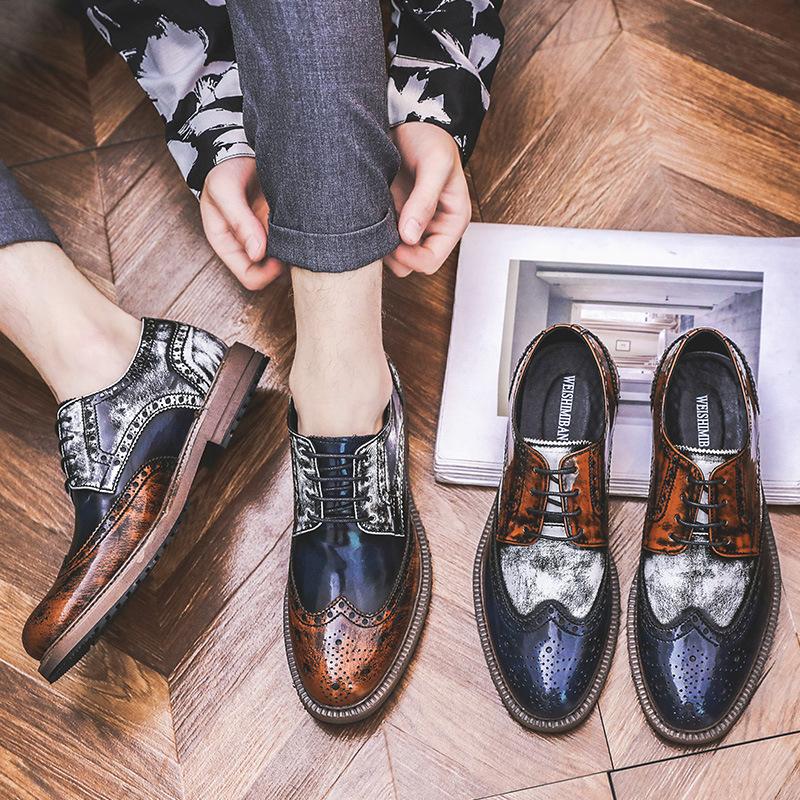 香港潮牌布洛克雕花代购复古男鞋