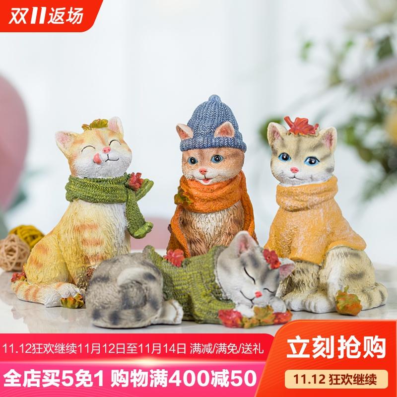 仿真猫咪摆件桌面家居饰品树脂创意工艺品动物电视柜小猫生日礼物