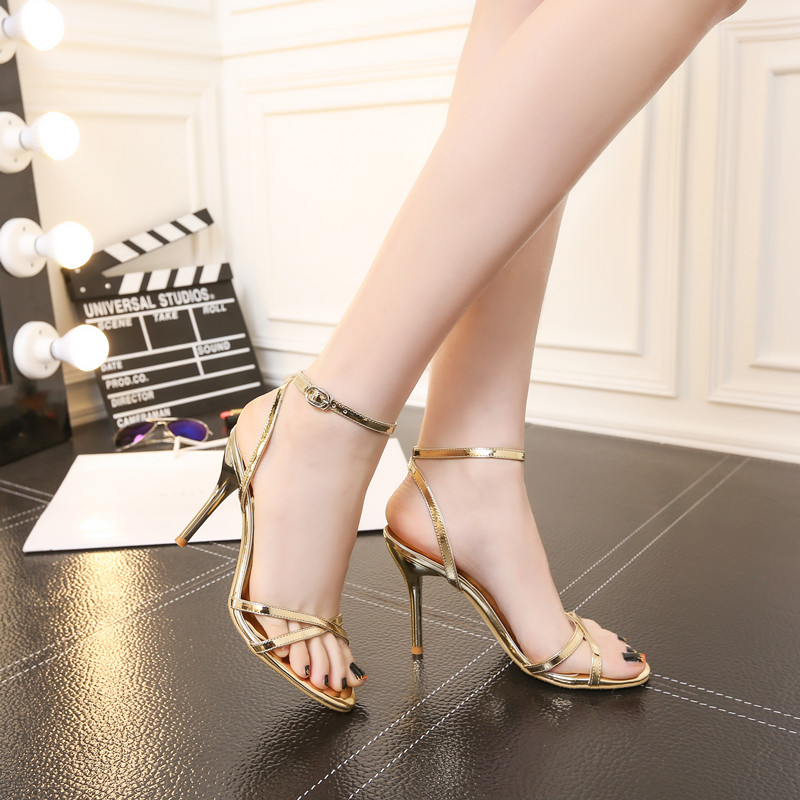 Summer gold 5cm high-heeled sandals with straight buckle and open toe sexy silver Pinstripe white stiletto sandals 4344