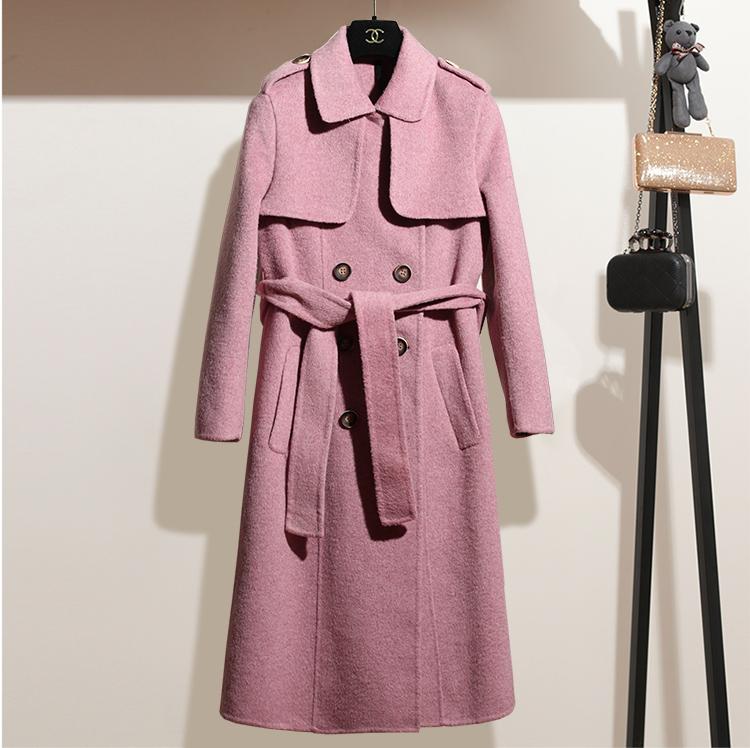2018新款冬装 阿尔巴卡羊驼绒羊毛大衣 高档双面呢外套女装806