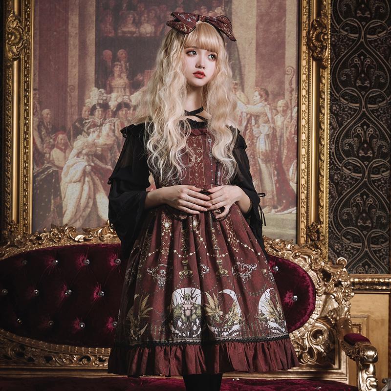 月之祭台 Lolita洋装连衣裙原创设计宫廷复古荷叶边jsk吊带连衣裙11月06日最新优惠