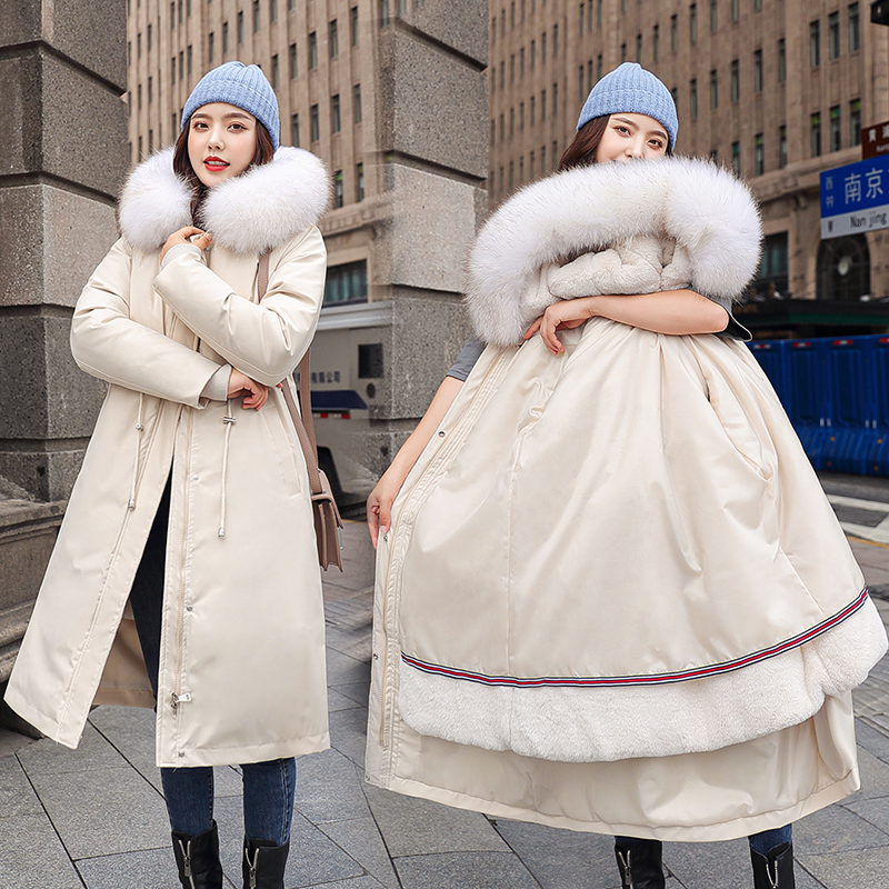 Detachable inner liner pike cotton padded jacket womens 2020 winter new popular long over the knee Plush thickened fashionable down cotton jacket