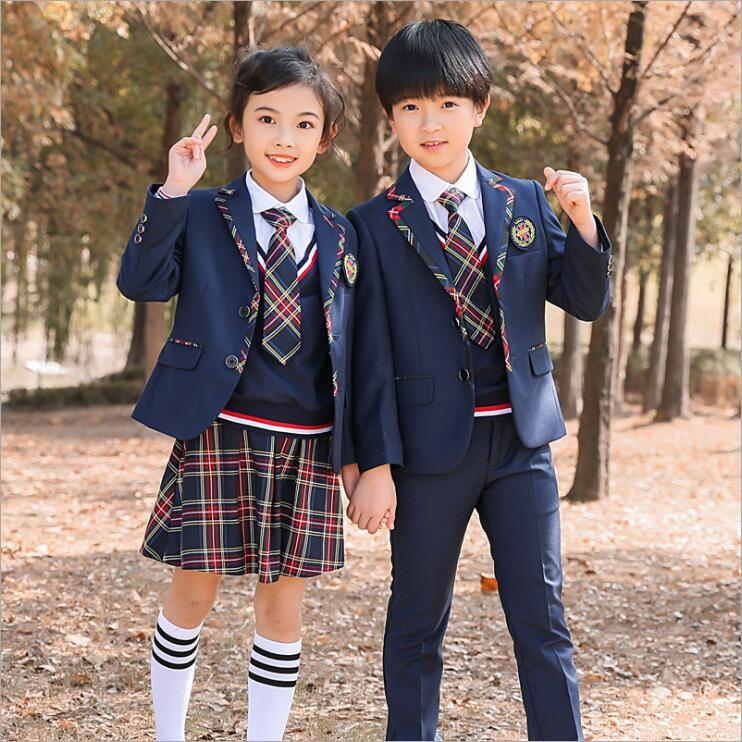 春秋装幼儿园儿童西装校服三件套小学生学院风校服班服套装