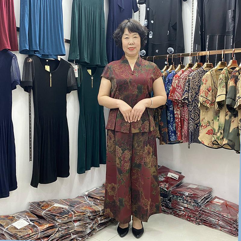 中老年女装阔太太时尚套装夏装新款阔腿裤遮肚短袖妈妈两件套2021