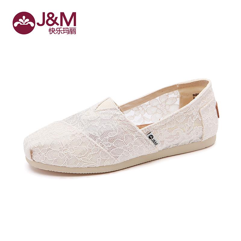 jm快�番���女鞋夏季白色�腥诵��U空蕾�z平底休�e透�夥�布鞋61636W