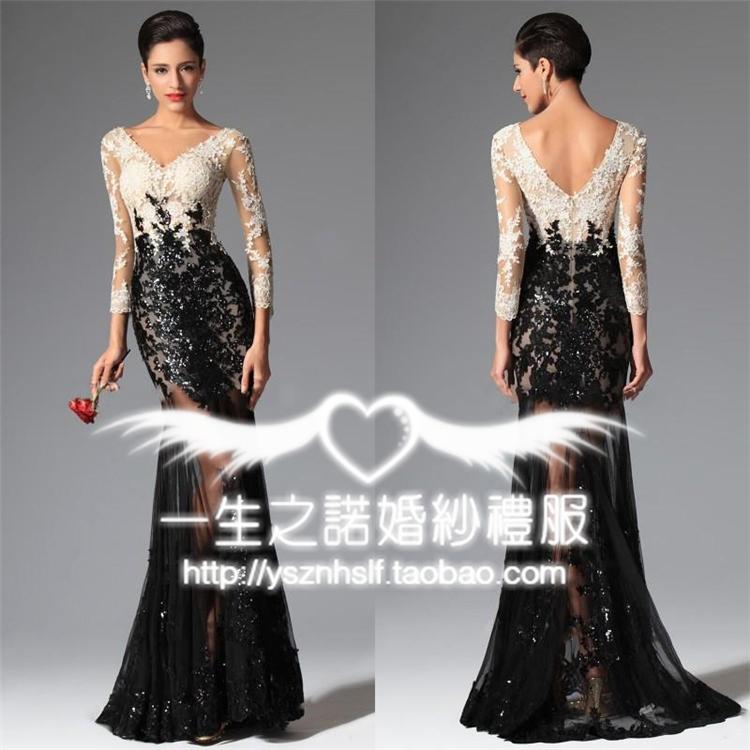 2017春欧美新款时尚黑色修身双肩鱼尾晚礼服显瘦宴会年会晚装长款