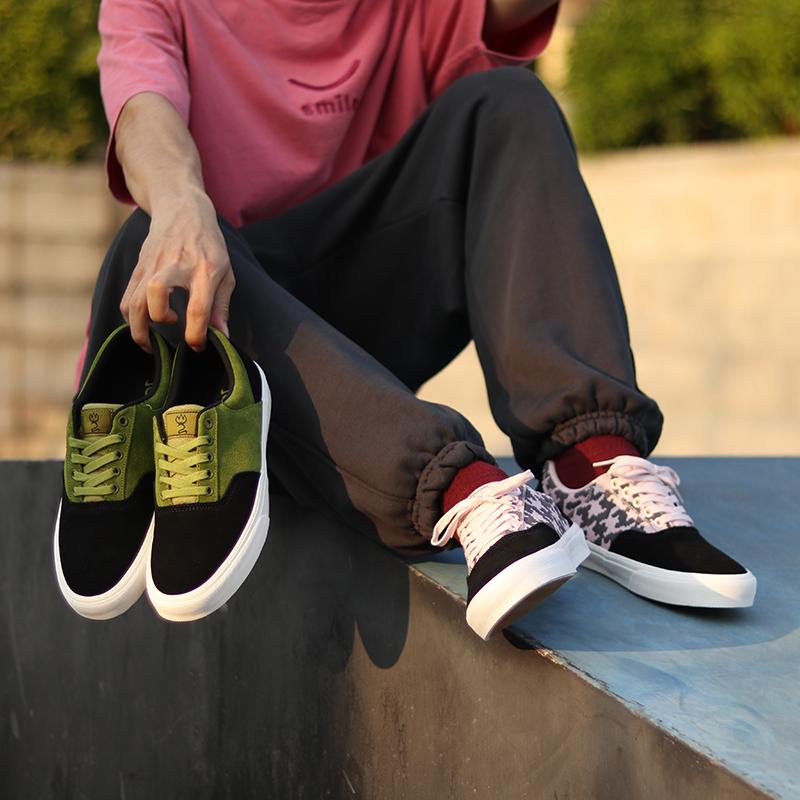 极路客功夫系列 粉色迷彩 + 蛇院绿牛反翻毛皮男女专业耐磨滑板鞋