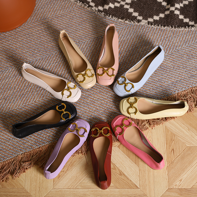 Four new style square head buckle single shoes womens French Retro Leather Flat ballet shoes