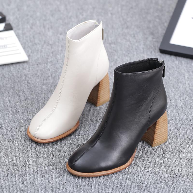 靴子女2020新款女鞋圆头粗跟短靴时尚英伦裸靴欧洲站欧货潮高跟鞋