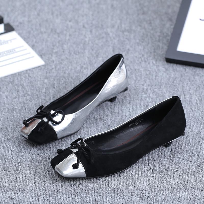 2020春季新款方头浅口单鞋女中跟拼色蝴蝶结低跟女鞋一脚蹬小皮鞋