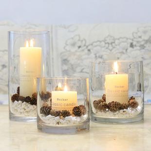 玻璃烛台欧式浪漫圣诞节家用软装蜡烛杯摆件样板间餐厅酒店蜡烛台