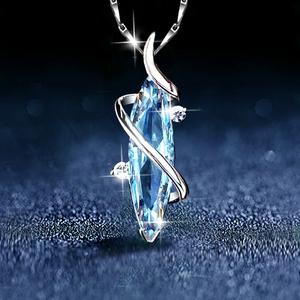 蓝水晶女士夏纯银2021年新款吊坠