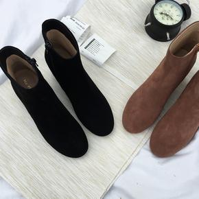 靴子女2020秋冬季女鞋加绒百搭翻毛皮中粗跟磨砂短靴女真皮瘦瘦靴