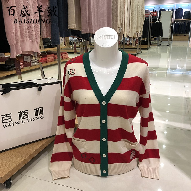 Womens new wide stripe fashion sweater red and green brand long sleeve V-neck knitted cardigan g home coat