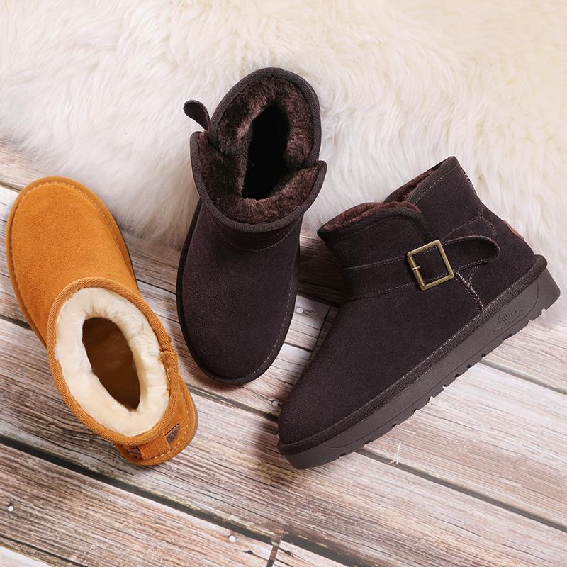 黄色清洗户外雪地靴女防水冬天冬鞋中帮防寒经典冬靴懒人挡风潮流
