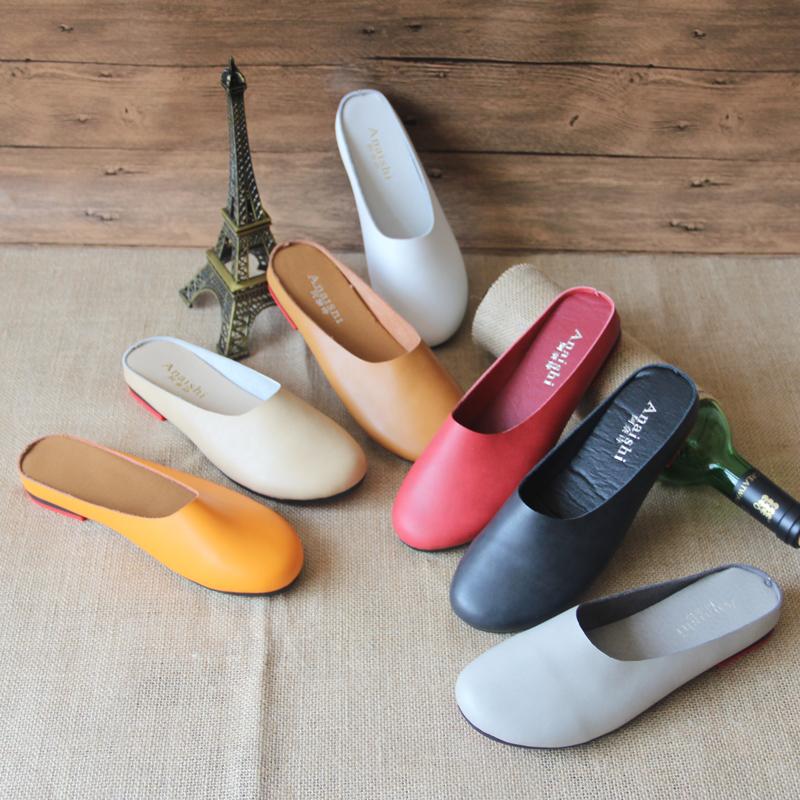 阿奈诗春夏新款真皮平底包头拖鞋女原创复古文艺手工单鞋森系女鞋