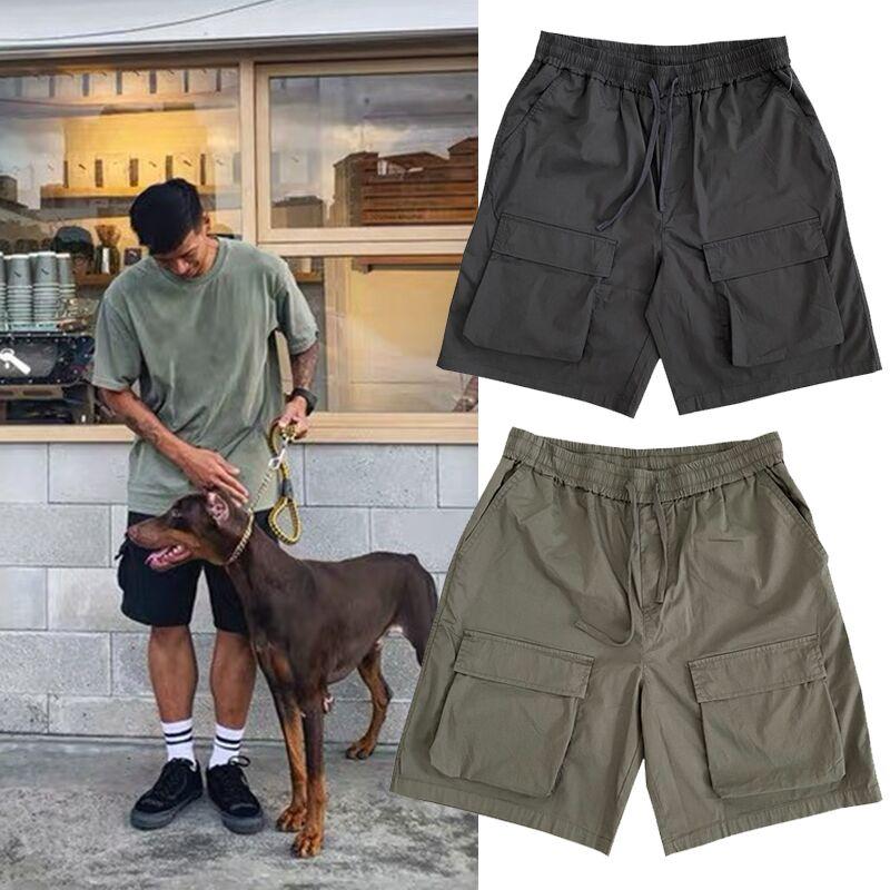 夏季潮牌王信凯同款日系休闲宽松薄款短裤立体大多口袋工装五分裤